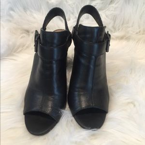 Tahari Leather Open Toe Heels Size 6